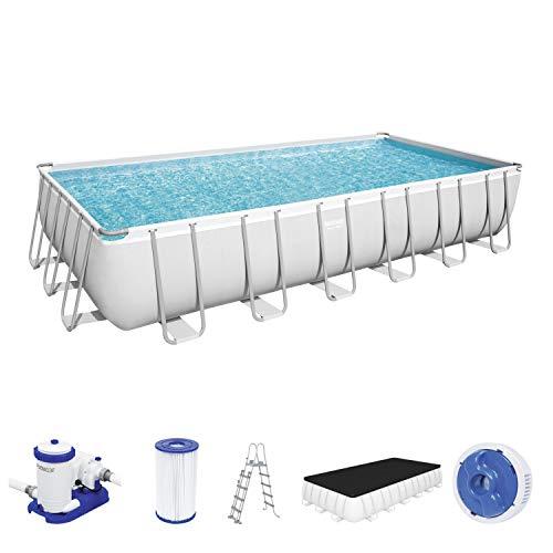 Power Steel Frame Pool Komplett-Set, eckig, mit Filterpumpe, Sicherheitsleiter & Abdeckplane 732 x 366 x 132 cm