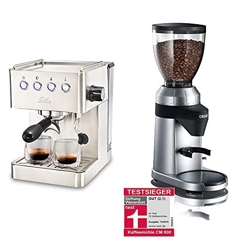 Solis 980.03 Barista, 1450, Rostfreier Edelstahl, 1.7 liters, Silber & Graef Kaffeemühle CM 800