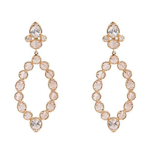 Parfois - Pendientes Largos con Cristales - Mujer - Talla Única - Rosa Pastel