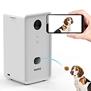 Iseebiz Smart Pet Camera, Wireless Treat Dispenser, WiFi Pet Monitor, 2 Way Audio and Video Tossing Feeder with Phone, 1080P Night Vision, App Control Compatible with Alexa for Dogs and Cats