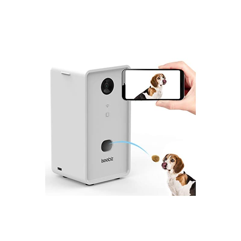 dog supplies online iseebiz smart pet camera, wireless treat dispenser, wifi pet monitor, 2 way audio and video tossing feeder with phone, 1080p night vision, app control compatible with alexa for dogs and cats