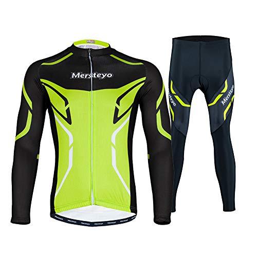 FZYQY Maillot Ciclismo Hombres Manga Largo y Pantalones Ajustados 3D Acolchado Forro...