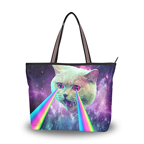Tote Bag Cat Spray Rainbow Shoulder Bags Purse Shopping Light Weight Strap Handbags for Women Girls Ladies Student