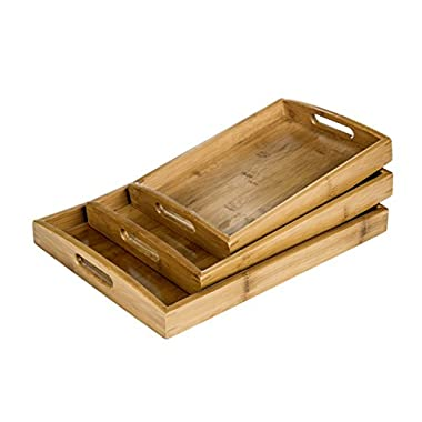 MyGift Set of 3 Natural Bamboo Rectangular Nesting Breakfast, Coffee Table/Butler Serving Trays, Brown