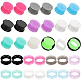 Juway Jusway Silicone Ear Plugs Gauge Plugs and Tunnles for Ear Plug Earrings for Men 00 gauges(32PCS)