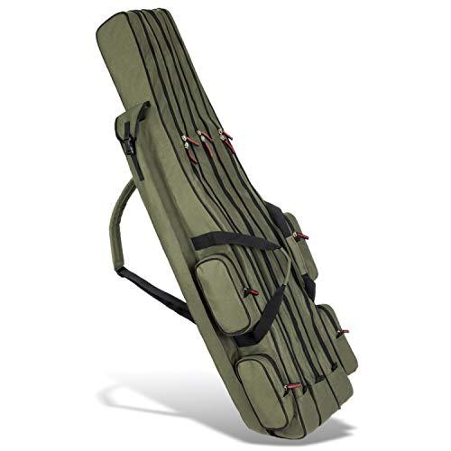 Rutentasche Rod Case Angelkoffer mit 3 Fächern, Verschiedene Längen wählbar - Oliv - 125 cm