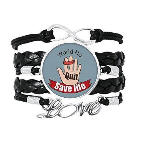 OFFbb-USA - Pulsera con logotipo de lazo para el índice y los dedos medios, para salvar la vida, accesorio de amor, cuero trenzado