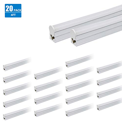 20 Pack LED T5 Integrated Linkable Tube Light 4FT 1800lm 4100K Daylight 19W Plug-n-Play Suitable for Home Kitchen Garage Basement Office Lighting UL DLC Certified