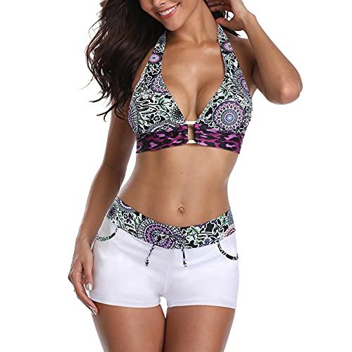 Durio Bikini Damen Bikini Set Zweiteiliger Badeanzug Bikini mit Hotpants Träger Oberteil Bikinihose Weiß mit Blumen 40