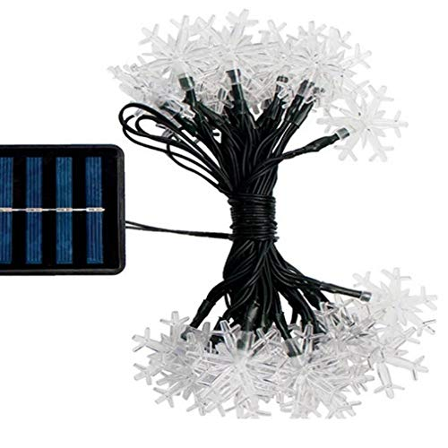 Zhong Solar Light LED Snowflake Light String Led Outdoor Waterproof Christmas Garden Garden Decoration Lights (100 Two-Mode Warm White Lights)