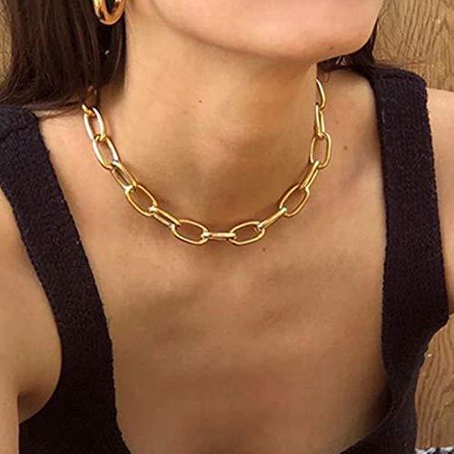 AQUALITYS Collar de Cadena de eslabones de Oro de Hip Hop para Mujer Collar de declaración Grande Cubano Grueso Gargantilla Collares de Moda Femenina Punk joyería