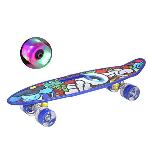 WuoooLi Skateboard Kinder, Mini Cruiser Kickboard Penny Board 59 cm X 16 cm Mit Buntem LED-Lichtrad Geschenk für Erwachsene Jugendliche Kinder Jungen MädchenBlue EEUK