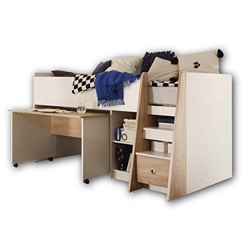 Stella Trading PIERRE Hochbett mit Schreibtisch 90 x 200 cm - Platzsparendes Kinder Etagenbett in weiß - 102 x 107 x 204 cm (B/H/T)