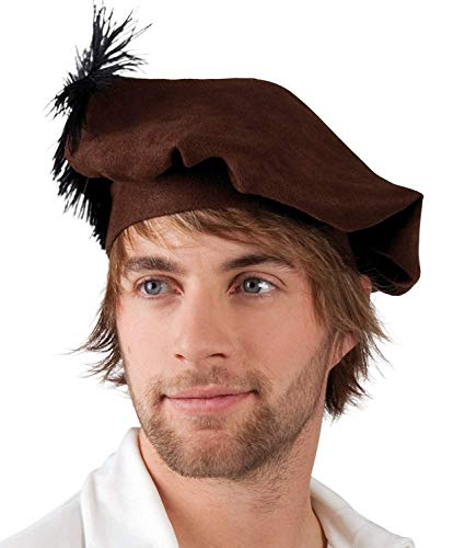 Mens Medieval Renaissance Beret with Feather Fancy Dress Party Costume Accessory