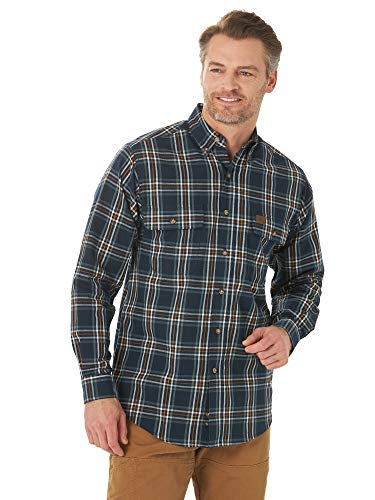 Wrangler Riggs Workwear Men's Long Sleeve Foreman Plaid Workshirt, Navy Gold, 3X Tall