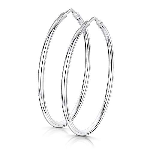 Amberta® 925 Sterling Silber Edle Ringe mit Scharnierbügel – Kleine runde Creolen Ohrringe - Durchmesse: 7 10 15 20 25 35 45 55 mm (35mm)