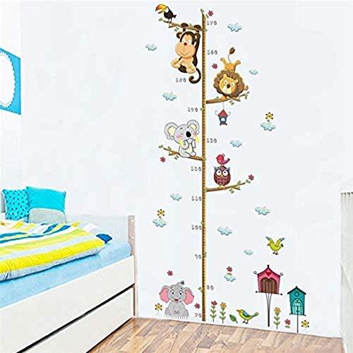 QIERK Jungle Animal Lion Monkey Owls High Medidor Wall Sticker Kid Room Crecimiento Mapa Cuarto de infantería Pegatinas de Pared Decorativas Arte
