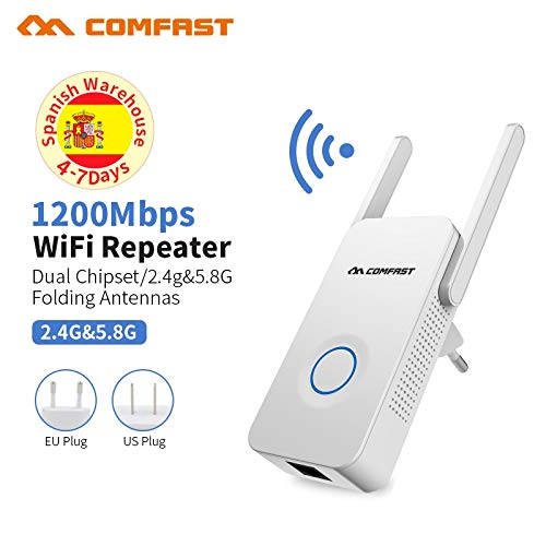 ?Comfast?Powerful Dual Band 1200Mbps WiFi Extender Internet Signal Booster Wireless Repeater 2.4GHz 5GHz Wi-Fi Range Extender Antenna