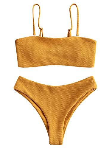 ZAFUL Women's Strappy Bandeau Bikini Set Textured High Cut 2PC Bathing Suit Swimwear Yellow,XL