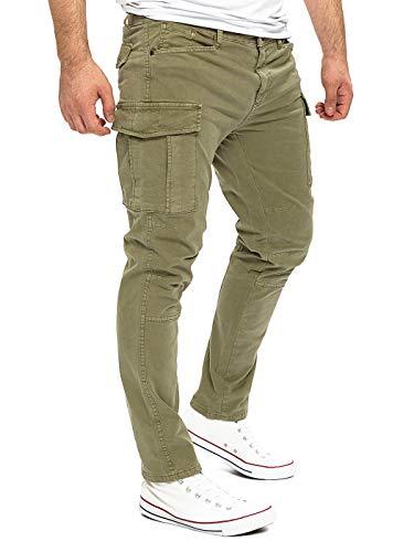 Yazubi Männer Cargo-Hose Jayden - Herren Taschen Chinos Cargohosen Oliv - Khaki Herrenhose Chino Men Pants, Grün (Dusky Green 170517), W30/L32