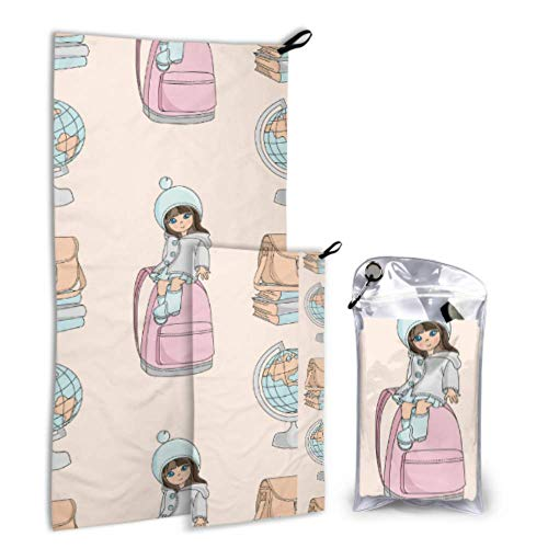 Limiejo School Bag Children Backpack Ideas 2 Pack Microfiber Girls Beach Towels Quick Dry Towels Set Fast Drying Best for Gym Travel Backpacking Yoga Fitnes