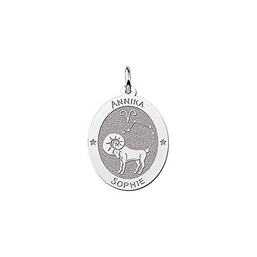 Namesforever ovale hanger van 925 sterling zilver | motief ram sterrenbeeld dierenriemteken | gratis gravure op de voorkant