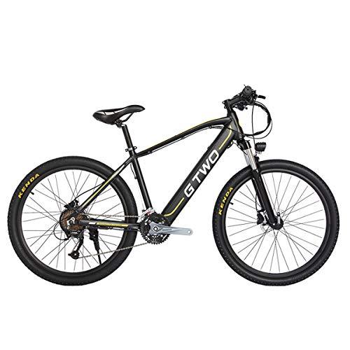 GTWO G2 Bicicleta eléctrica de 27.5 Pulgadas 350W Bicicleta de montaña 48V 9.6Ah Batería de Litio extraíble 5 Pas Freno de Disco Delantero y Trasero (Black Yellow, 9.6Ah + 1 batería Repuesto)