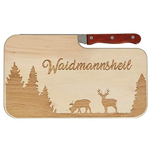 Spruchreif Frühstücksbrett mit Messer inkl. Gravur Waidmannsheil | Messerbrettchen für Jäger | Jausenbrett aus Holz | Jäger und Jagd Geschenke…