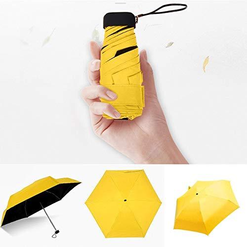 Paraguas ligero de lujo para mujer, con revestimiento negro, paraguas de lluvia de 5 pliegues, unisex, viaje, mini paraguas - amarillo, a1
