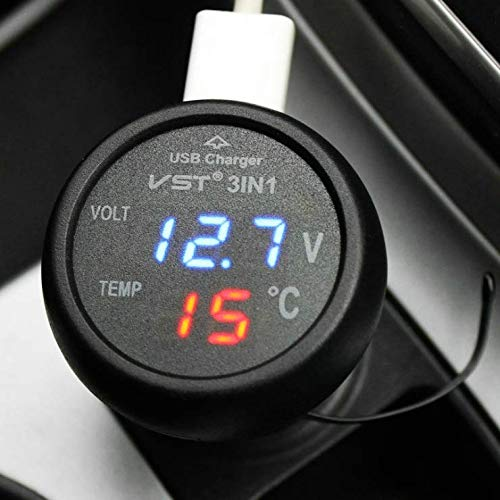LINSUNG 12 V-24 V 3in1 Universal Zigarettenanzünder Auto USB Port ladegerät Digitale Led-anzeige Temperatur Monitor Meter Voltmeter Thermometer Auto Gauge Batteriespannung Tester Blue