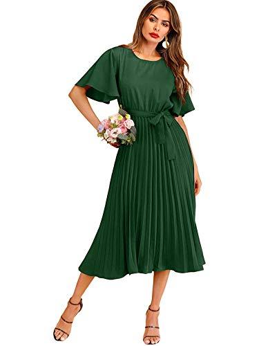 Milumia Women's Elegant Belted Pleated Flounce Sleeve Long Dress Green Medium