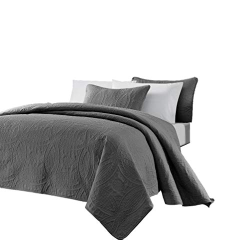 Chezmoi Collection Austin 3-Piece Oversized Bedspread Coverlet Set (King, Charcoal)