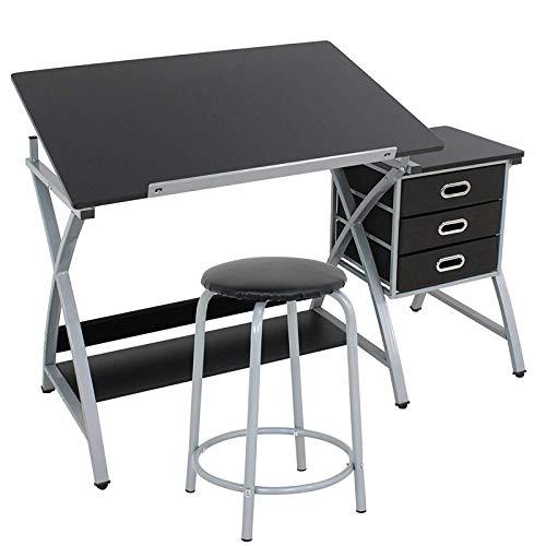 Display4top Mesa de Dibujo con Taburete para arquitectos y técnicos - Tablero reclinable, 3 cajones,Negro