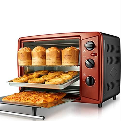 Mini Horno eléctrico,Horno Tostador Multifuncional máquina de Hornear para el hogar máquina de Pan de Galletas y Pasteles de Pizza 30 l de Capacidad con Temporizador Control de Temperatura freidor