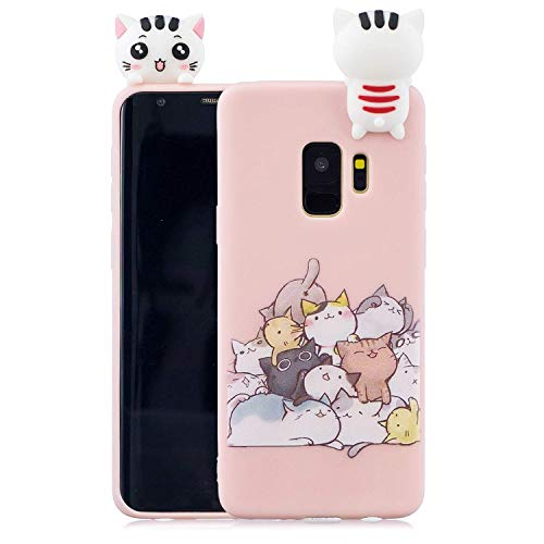HongYong Niedlich 3D Karikatur Katze Hülle für Samsung Galaxy S9 Plus, Bunt Schön Tier Muster Weich Silikon Handyhülle,Ultra Dünn Flexibel TPU Bumper Stoßfest Schutzhülle