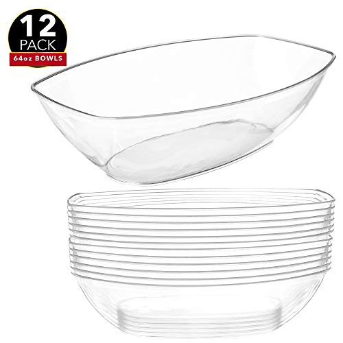 40 Pack Clear Hard Plastic Catering Bowls 180ml Disposable Washable Reusable