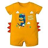 Bebé Mameluco de Algodón Dinosaurio Mono Peleles Niños Manga Corta Pijama Ropa de Dormir