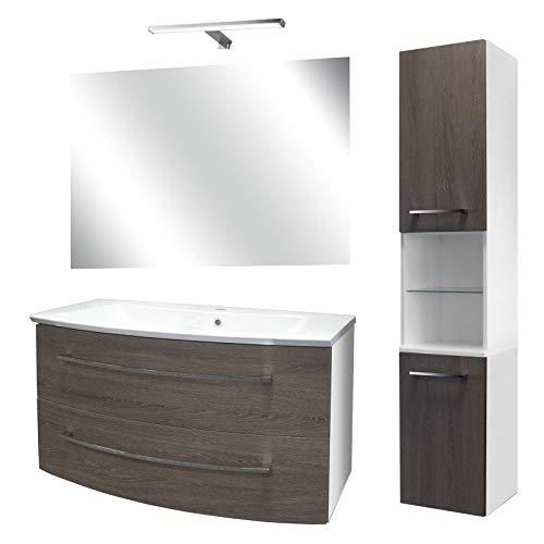 FACKELMANN Dunkles Badmöbel Set 5-TLG. Rondo mit Waschtisch Unterschrank hängend Gussbecken 100 cm & Badspiegel & LED Aufsatzleuchte