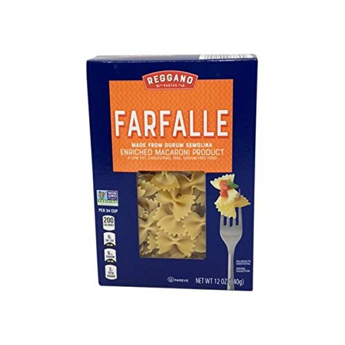 Reggano Classic Durum Semolina Low Fat Sodium Free Farfalle Bow-Tie Macaroni Pasta - 12 oz.