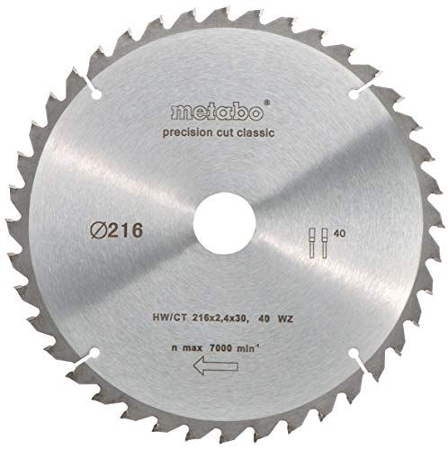 Metabo 628060000 Kreissägeblatt HW/CT 216x2,4x30 mm 40 WZ 5°neg. classic