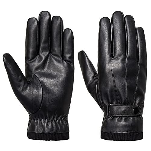 Acdyion Herren Winter Leder Handschuhe Touchscreen Dicke Warm Fleecefutter Lederimitat Winterhandschuhe für Outdoor Autofahren Radfahren, Schwarz, M