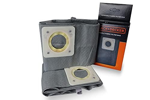 Black+Decker Bolsas de filtro de tela lavables de 20 l para aspiradores sólidos y líquidos