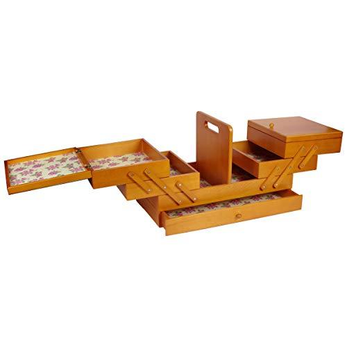 Sewing-Online Große Holz Ausleger Nähkasten gebeizt Holz mit Papier-Liner