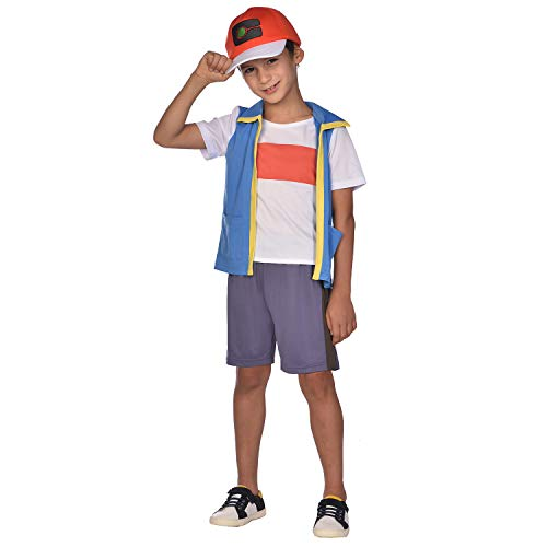 Amscan 9908893 - Disfraz de Pokemon Ash para niños de 6 a 8 años, color azul