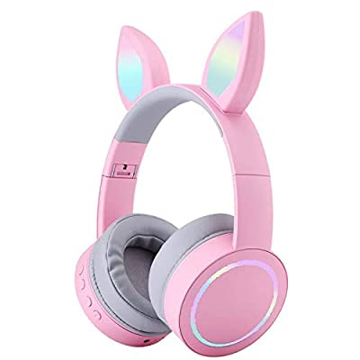 Wireless Kids Headphones Children Girls Cat Headphones with LED Light Color-Changing Foldable Noise Cancelling Over Ear Anime Wireless Cat Ear Headsets for Kids Girls School Christmas Parties (Pink) from Flokyu