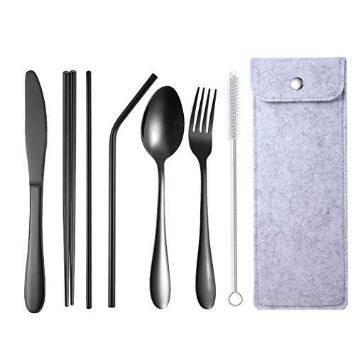 Set di posate in acciaio inox (tra cui coltello, forchetta e cucchiaio) lucidate a specchio, portatile, adatto per casa, ufficio, feste, viaggi, colore: nero