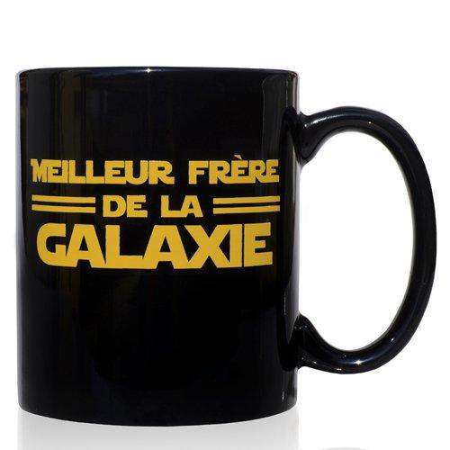 Tasse mug Petit-déjeuner de céramique noire 32 cl. modèle Meilleur Frère de la Galaxie