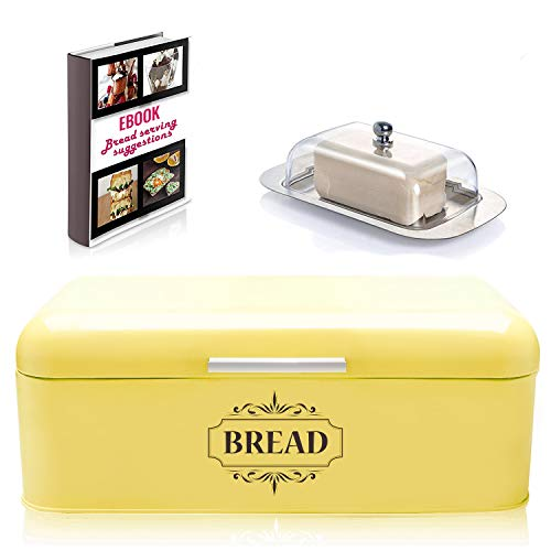 AllGreen Vintage Bread Box Container for Kitchen Decor Stainless Steel Metal Bread Bins Retro Yellow for Kitchen Counter Dry Food Storage Including Free Butter Dish and Serving eBook Store Bread Loaf