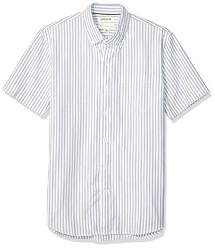Amazon Brand - Goodthreads Men's Standard-Fit Short-Sleeve Oxford Shirt w/Pocket, Blue White Vertical Stripe, X-Small