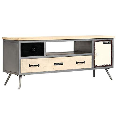 ROMELAREU TV-kast mangohout massief en staal 120 x 30 x 45 cm meubels TV-meubel